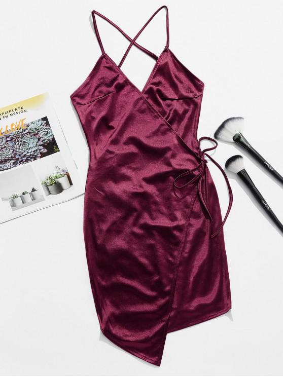 Robe à Bretelle Sans Dos en Satin à Lacets - Rouge Vineux XL