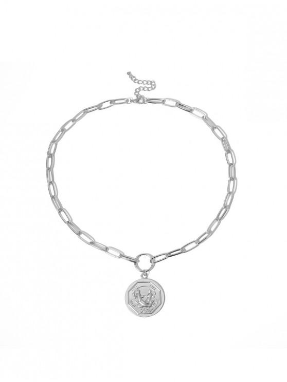 affordable Engraved Round Pendant Chain Necklace - SILVER