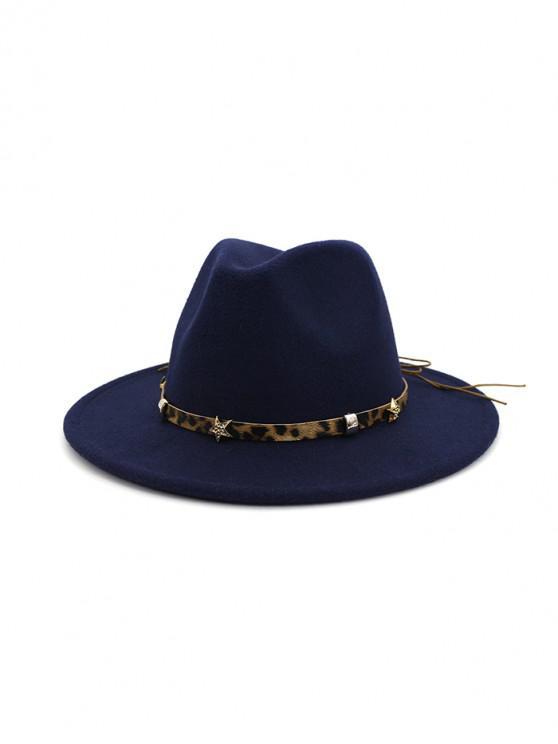 buy Leopard Star Flat Brim Fedoras Hat - CADETBLUE