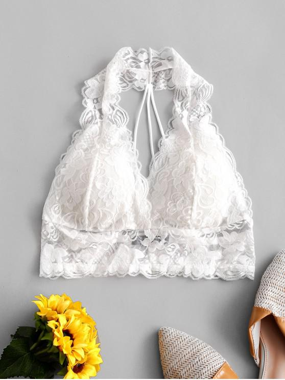 outfit ZAFUL Strappy Back Scalloped Lace Lingerie Bralette - WHITE M