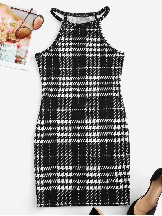 千鳥格無袖連衣裙Bodycon - 黑色 S