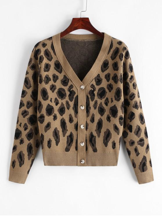 sale Leopard Button Up V Neck Cardigan - LEOPARD S
