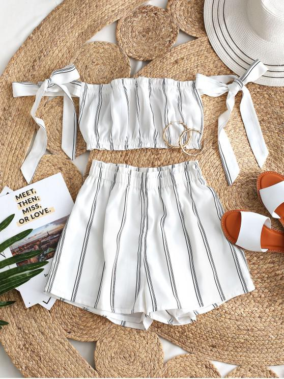outfit ZAFUL Striped Ruffle Bowknot Off Shoulder Shorts Set - WHITE XL