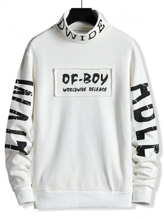 fancy Letter Print Patchwork Mock Neck Fleece Sweatshirt - MILK WHITE S