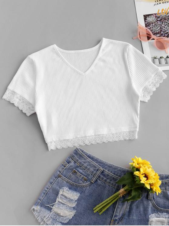 new Lace Panel Crop V Neck Tee - WHITE L