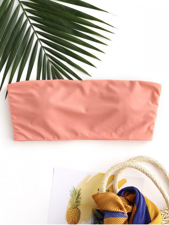 ladies ZAFUL Boning Side Padded Bandeau Bikini Top - DARK SALMON M