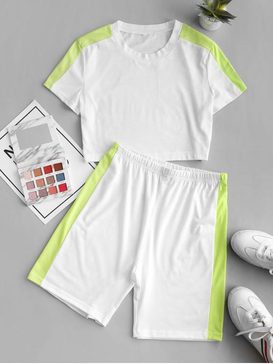 women ZAFUL Contrast Two Tone Two Piece Shorts Set - WHITE M