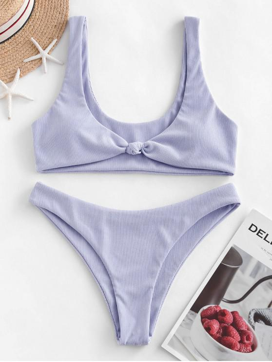 buy ZAFUL Bow Ribbed Bikini Swimsuit - LAVENDER BLUE L