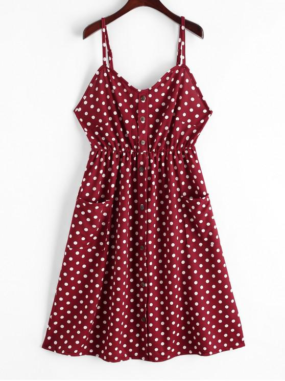 chic Polka Dot Buttons Smocked Back Dress - RED WINE XL