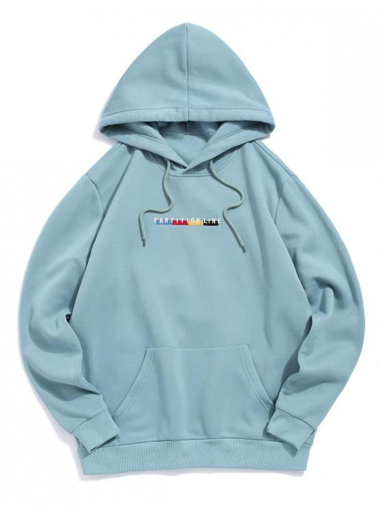 womens ZAFUL Letter Embroidered Pouch Pocket Hoodie - CYAN OPAQUE 2XL
