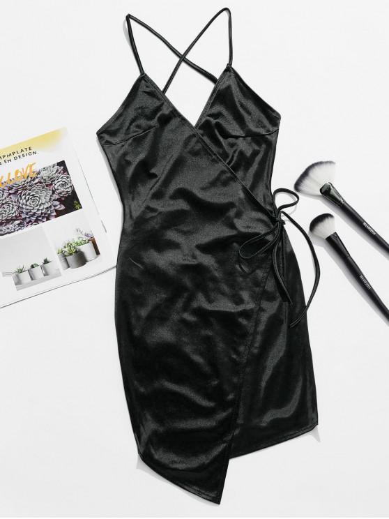 best Backless Lace Up Satin Cami Dress - BLACK L