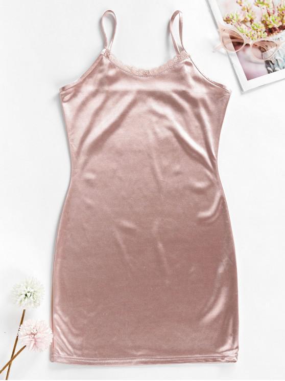 fashion Lace Trim Silky Bodycon Dress - PINK XL