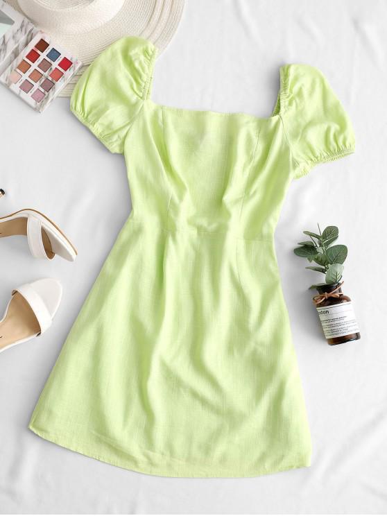 women Square Neck Smocked Back Solid Dress - GREEN L