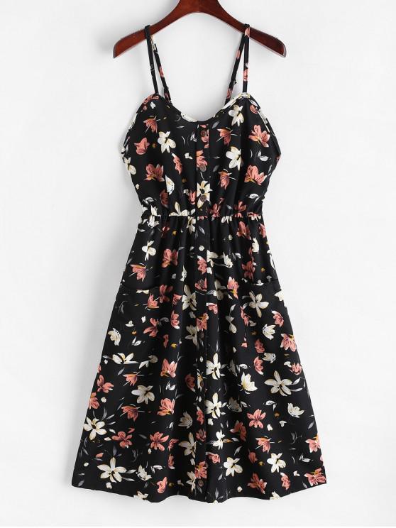 online Floral Print Mock Buttons Cami Dress - BLACK M
