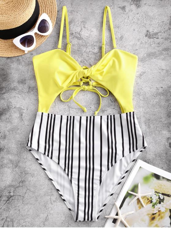 affordable ZAFUL Twist Cutout Striped Lace Up One-piece Swimsuit - YELLOW XL