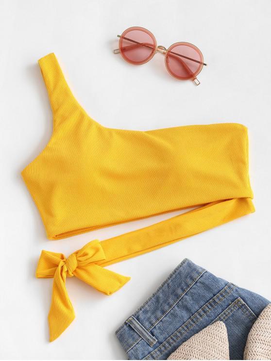 trendy ZAFUL One Shoulder Knot Ribbed Bikini Top - BRIGHT YELLOW M