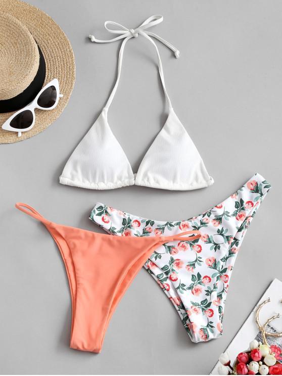 unique ZAFUL Halter Ribbed Floral Three Piece Swimsuit - BASKET BALL ORANGE L