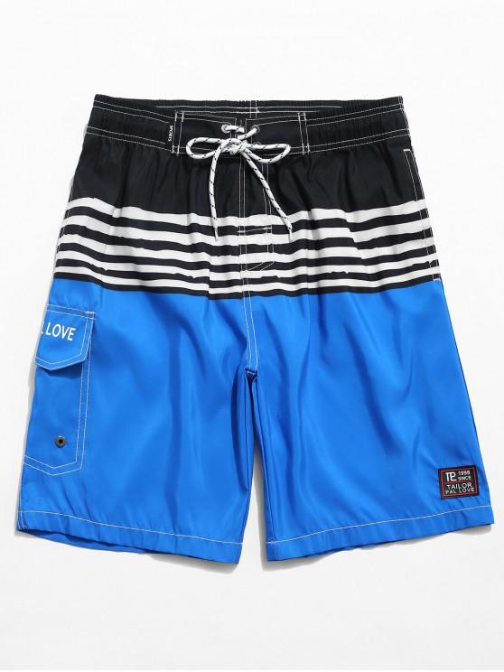 Color Spliced Striped Print Casual Shorts - أزرق L
