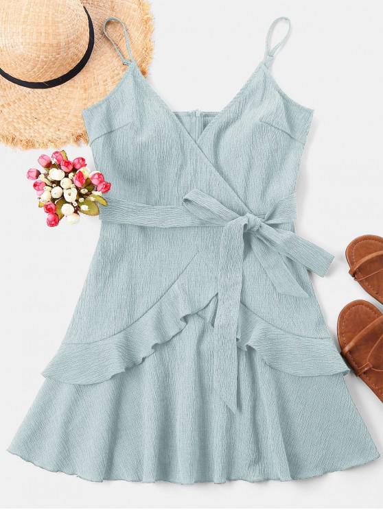 Ruffle Mini Cami Dress - Powder Blue L | ZAFUL