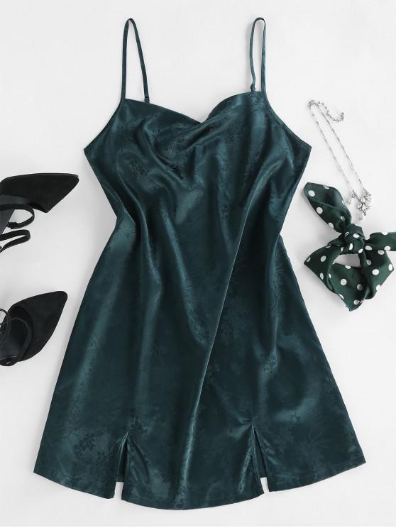 latest ZAFUL Jacquard Satin Cami Slit Mini Dress - GREEN M