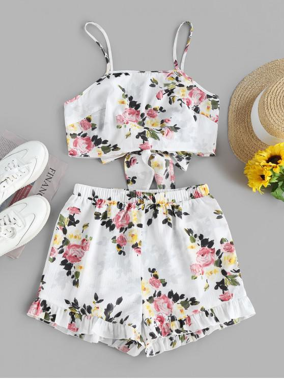 women's ZAFUL Flower Knotted Ruffled Two Piece Shorts Set - WHITE L