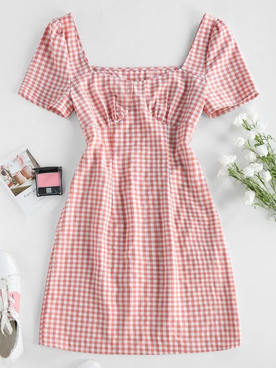 ZAFUL Mini Robe Moulante en Vichy - Rose clair S