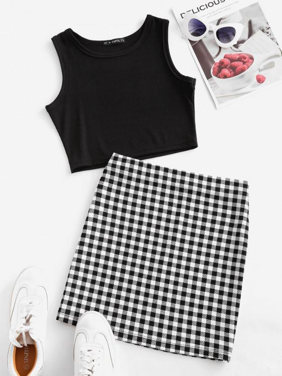 lady Checked Sleeveless Crop Two Piece Suit - BLACK M