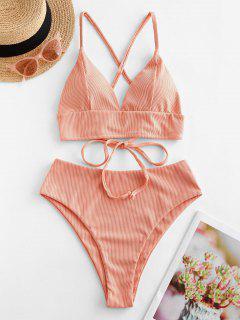 ZAFUL Ribbed Cross Lace Up High Cut Tankini Swimsuit - Orange Pink S