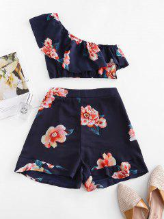 Ruffles Floral One Shoulder Two Piece Set - Midnight Blue S
