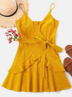 Mini Vestido De Volantes Con Tirante Fino - Amarillo M