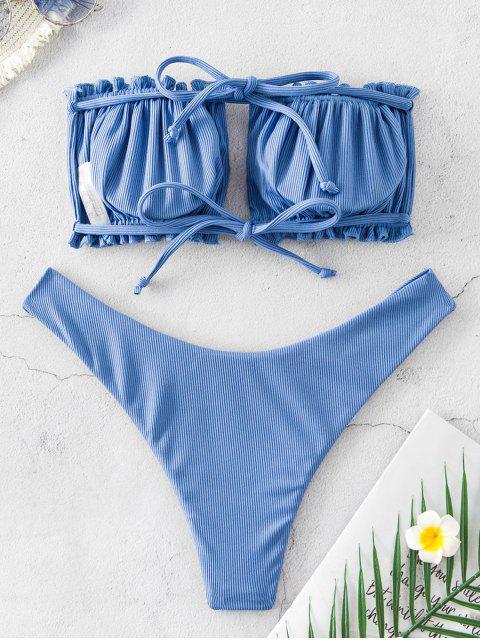 sale ZAFUL Ribbed Tie Cutout Bandeau Bikini Swimsuit - SILK BLUE S Mobile
