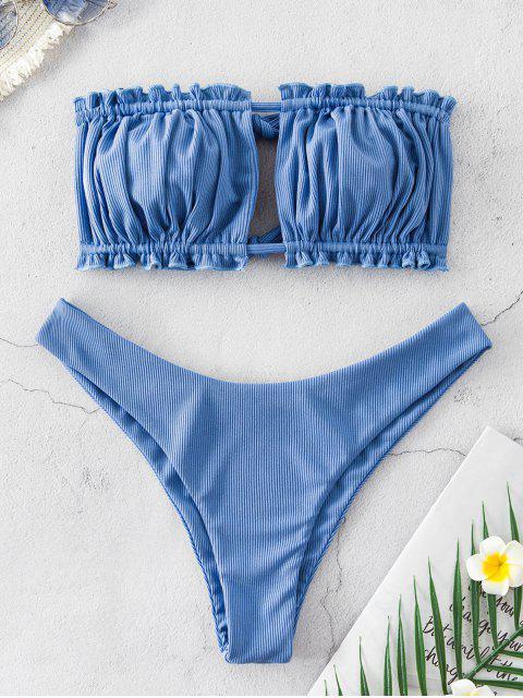 ZAFUL acanalado del lazo recorte Bandeau bikini - Azul de Seda S Mobile