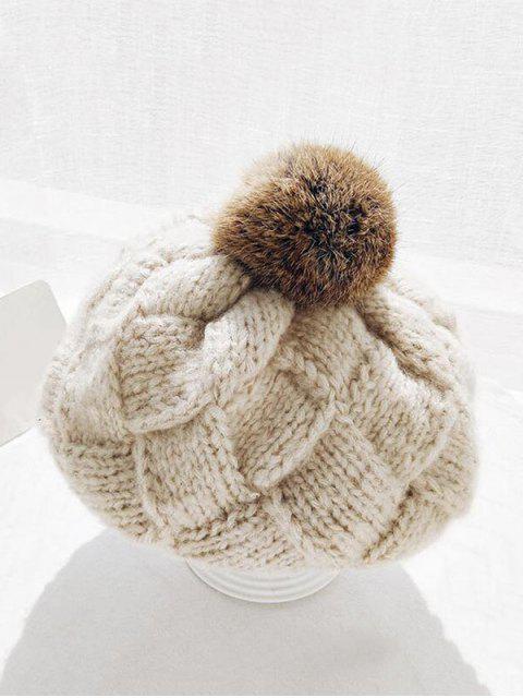 Клетчатая Зимняя Вязаная Шляпа - Бежевый  Mobile