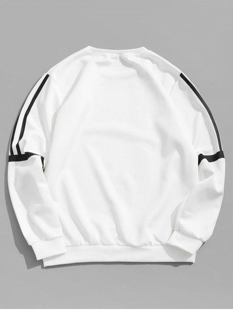 ストライププリントアップリケカジュアルスウェットシャツ - 白 S Mobile
