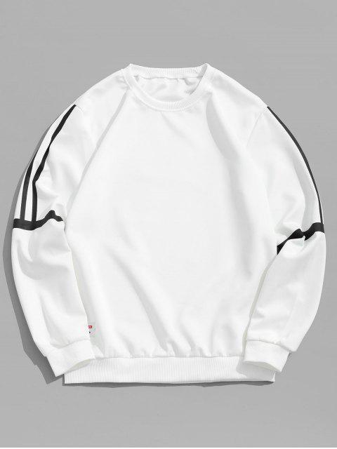 womens Striped Print Applique Casual Sweatshirt - WHITE M Mobile
