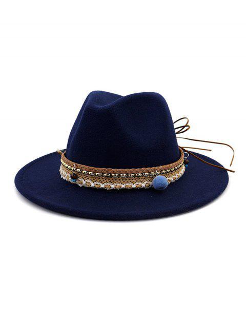 sale Pom Braid Bowknot Flat Brim Fedoras Hat - CADETBLUE  Mobile