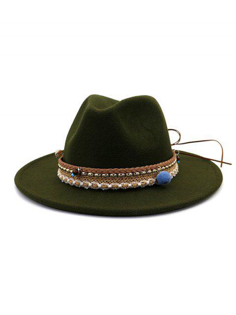 women's Pom Braid Bowknot Flat Brim Fedoras Hat - ARMY GREEN  Mobile