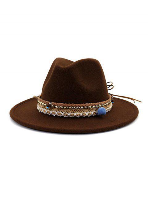 lady Pom Braid Bowknot Flat Brim Fedoras Hat - COFFEE  Mobile