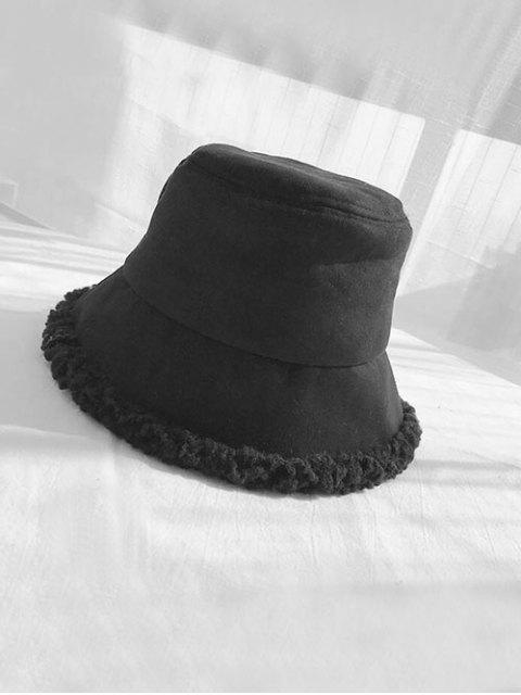 Шерсть Замша Зимняя Шляпа-ведро - Чёрный  Mobile