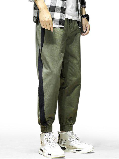 women Colorblock Print Elastic Waist Jogger Pants - ARMY GREEN M Mobile