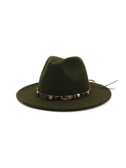 trendy Leopard Star Flat Brim Fedoras Hat - ARMY GREEN  Mobile