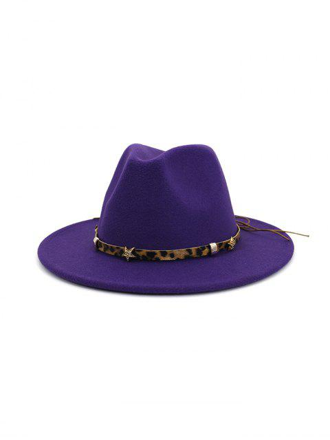 sale Leopard Star Flat Brim Fedoras Hat - PURPLE  Mobile
