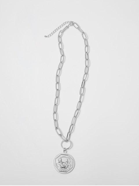 Цепное Ожерелье с круглой подвеской - Серебристый  Mobile