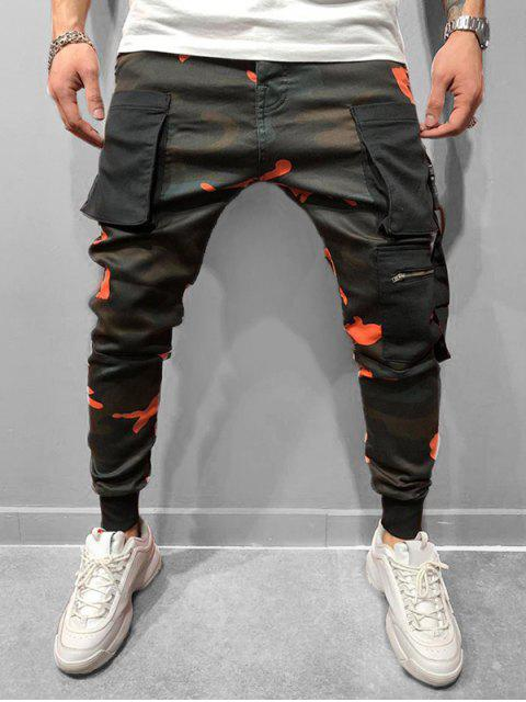 trendy Camo Printed Elastic Waist Jogger Pants - LAVA RED 3XL Mobile