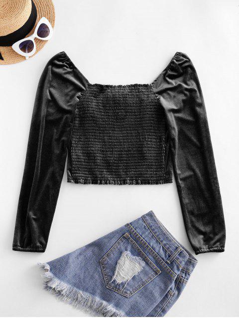 buy Smocked Back Velvet Milkmaid Blouse - BLACK M Mobile