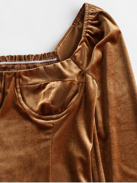 new Smocked Back Velvet Milkmaid Blouse - BROWN L Mobile