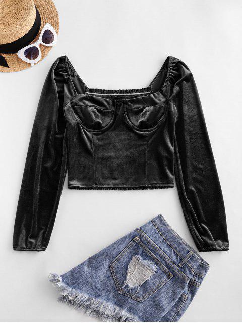 hot Smocked Back Velvet Milkmaid Blouse - BLACK L Mobile