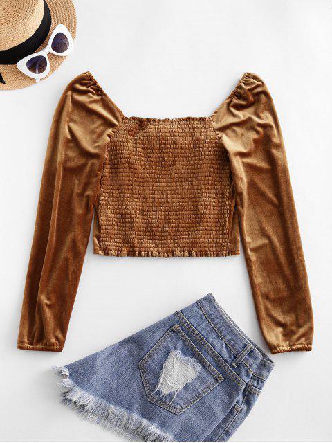 outfit Smocked Back Velvet Milkmaid Blouse - BROWN S Mobile