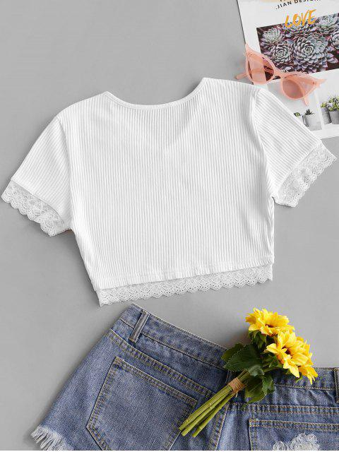 womens Lace Panel Crop V Neck Tee - WHITE XL Mobile