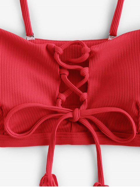 ZAFUL acanalado cordón de la borla encima de alto corte de bikini traje de baño - Rojo S Mobile